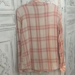 Sanctuary Tops - Sanctuary pink and ivory plaid flannel